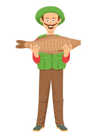 Cute fishman with mustache holding a big fish