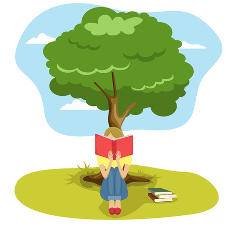 Girl reading book sitting under tree of wisdom