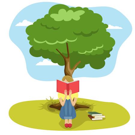 Meisje lezen boek zitten onder boom van wijsheid