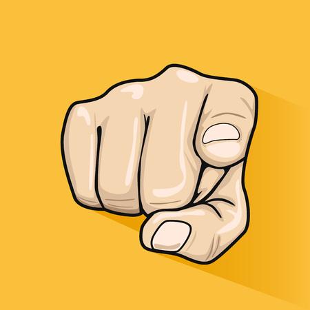 Mâle main pointant le doigt sur vous sur fond jaune