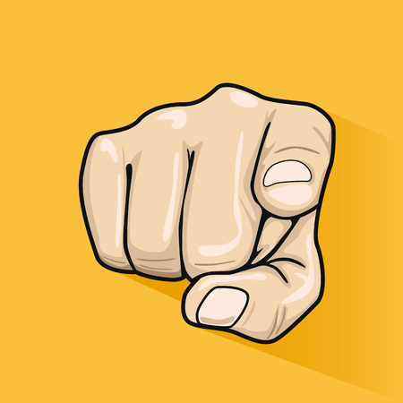 Male hand pointing finger at you over yellow background Vettoriali