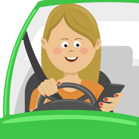 Young woman using her smartphone behind the wheel. Problem addiction danger concept Stock Illustratie