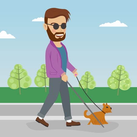 Blind man walking the street with help of guide dog Illustration