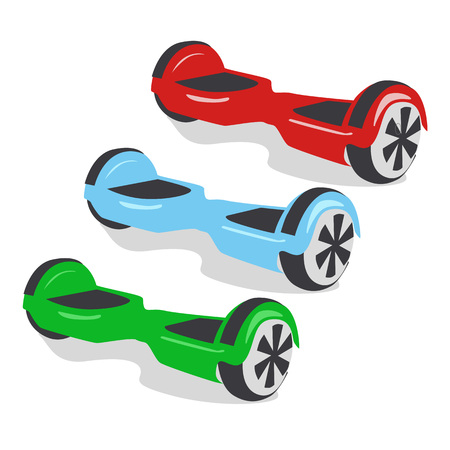 Multicolored gyroscopes, personal eco transport, gyro scooter, smart balance wheel. New modern technologies