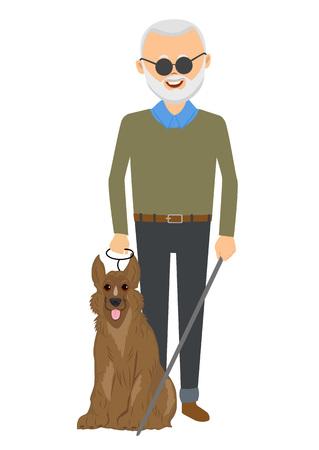 Homme aveugle senior debout avec un chien de guidage Vecteurs