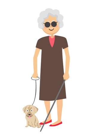 impaired: Senior blind woman standing with guide dog Illustration