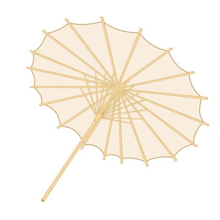 Traditional japanese or chinese umbrella over white backgrround Illustration