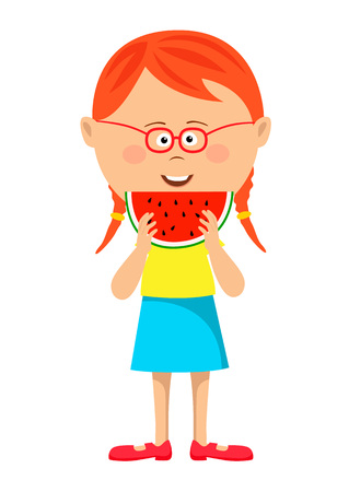 Little cute nerd red haired girl eating watermelon