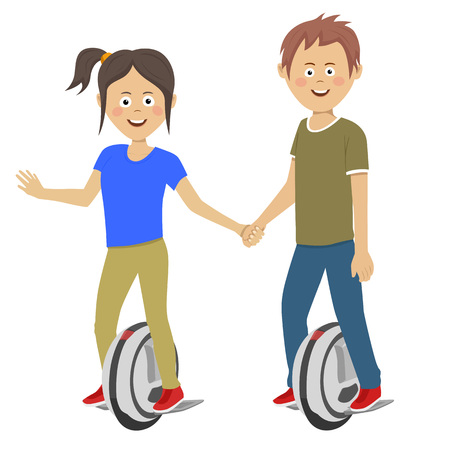 Young teenagers couple riding self balancing unicycle electric scooters