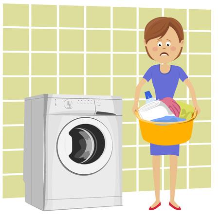 Ongelukkige jonge vrouw die naast wasmachine staat met wasbak vol vuile kleding