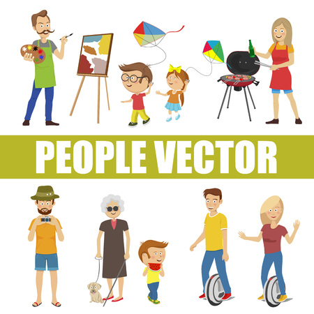 People vector with various characters isolated over white background