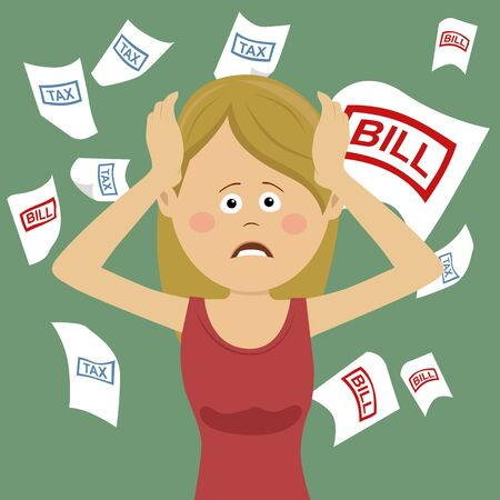 Young desperate woman with bills and tax while shouting out