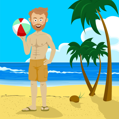 pals: Young hipster man holding inflatable ball standing on tropical beach with palm trees