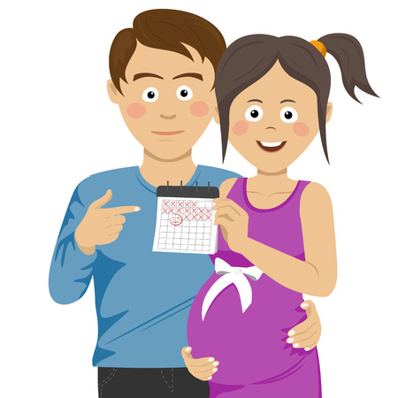 abdomen women: Expecting young parents pointing to calendar