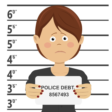 Business woman posing for mugshot holding signboard with police debt text