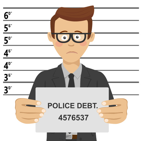 Young businessman with glasses posing for mugshot holding signboard with police debt text Illustration