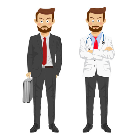 The same man showing two characters as doctor and businessman