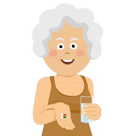 Elderly happy woman holding two pills and glass of water Vectores