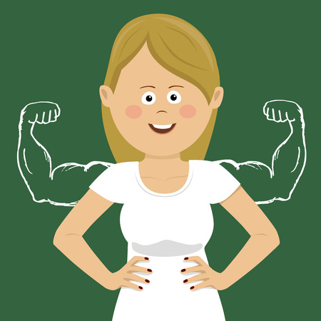 Young happy woman with sketched strong and muscled arms Illustration