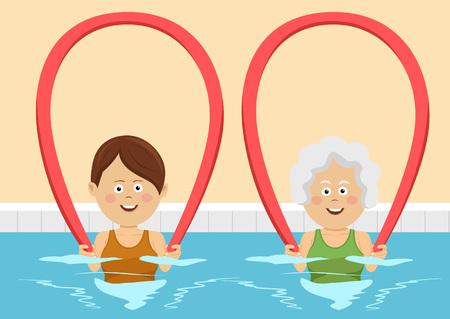 若者と高齢の女性がプールにプールの麺を使用して