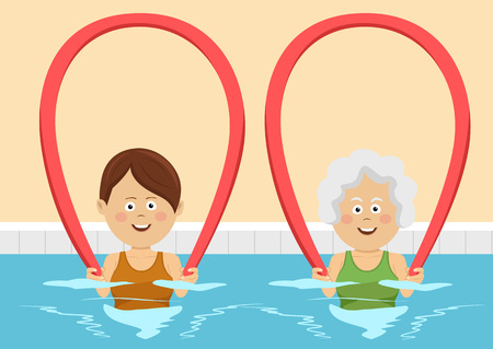 group therapy: Young and elderly women using pool noodles in swimming pool