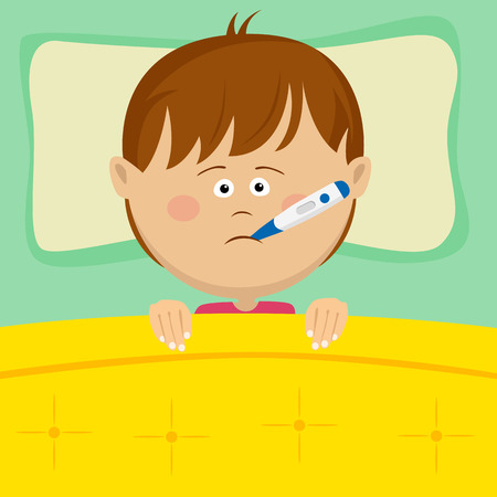 lying in bed: Little sick boy with thermometer in his mouth lying in bed