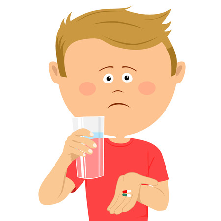Unhappy little boy with glass of water shows two pils Illustration