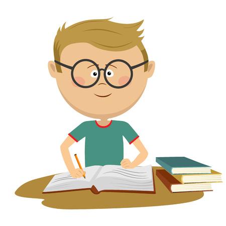 Piccolo ragazzo nerd con gli occhiali che fa il suo lavoro