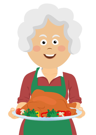 Elderly happy woman holding a tray with thanksgiving turkey.