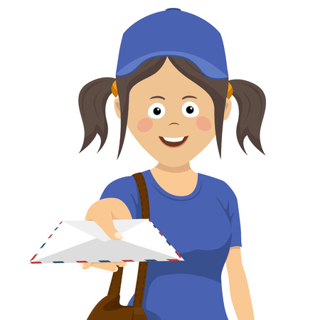 Cute teenager delivery girl with envelope in blue uniform on white background Çizim
