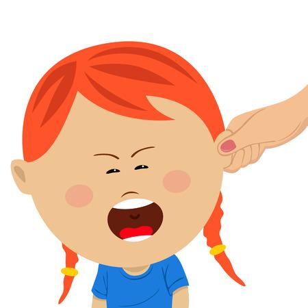 그녀의 우는 딸의 귀를 당기는 어머니 손 일러스트