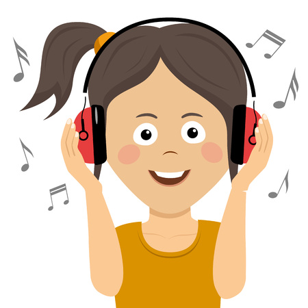 Cute teenager girl listening to music with headphones