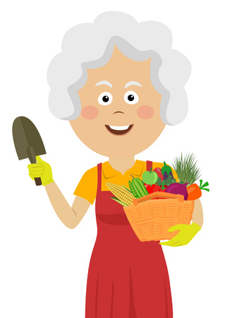 Cute elderly gardening woman with trowel and wicker basket with fresh vegetables 向量圖像