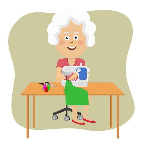 Senior vrouw stiksels stof met behulp van een naaimachine