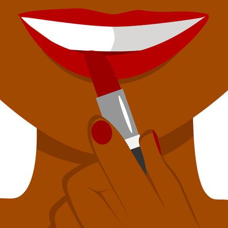 African american woman applying lipstick. Closeup illustration Illustration