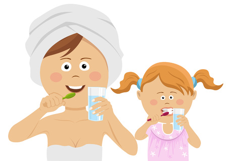 Young mother with her little daughter brushing their teeth Illustration