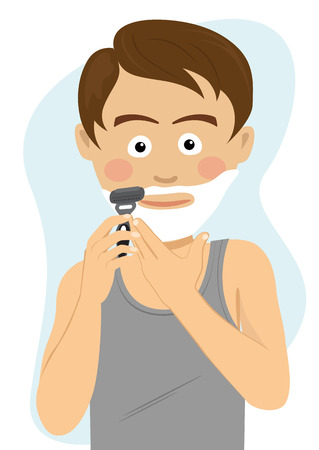 Teenager boy shaving for the first time getting ready for school in the morning. Stock Vector - 87108250