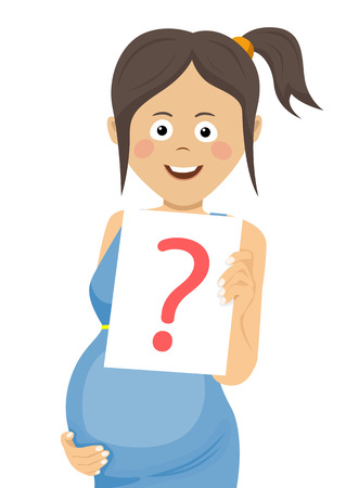 Young pregnant woman holding a paper with question sign