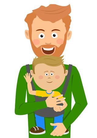 Jonge vader die zijn zoon in babydrager op wit houdt Vector Illustratie