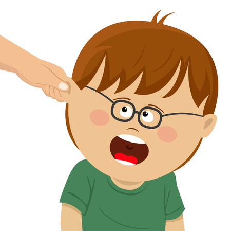 Boy receives physical punishment from the adult vector illustration.