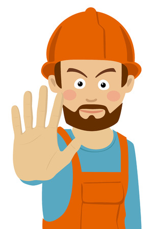 Serious construction worker man showing stop gesture. Illustration