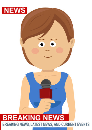 Female news reporter - woman journalist as a live correspondent with microphone.