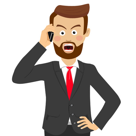 Angry businessman talking on the phone Illustration