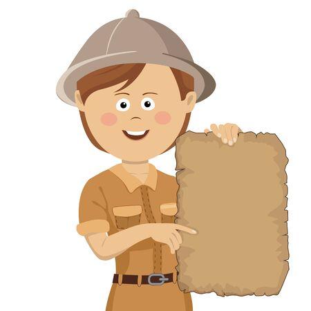 Young cute explorer woman in safari hat holding scroll treasure map