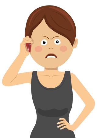 Imprenditrice arrabbiata parlando sullo smartphone