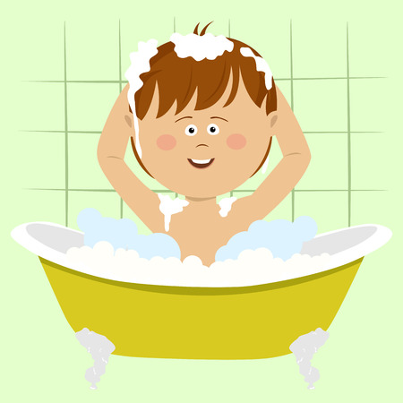 Smiling beautiful baby boy bathing in bathtub with shower at home