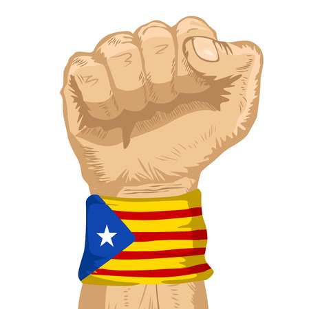 Fist wearing a flag of Catalonia wristband clenched tight Illustration