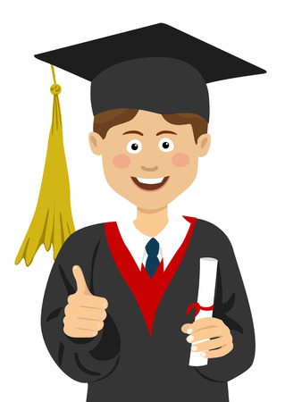 scholarship: Young boy graduate student in graduation cap and mantle with a university diploma in his hand giving thumbs up Illustration