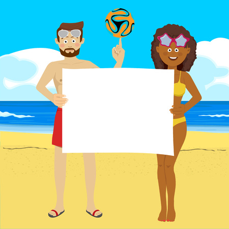Young people with soccer ball on summer beach holding blank board