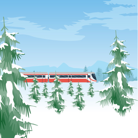 Snowy landscape with train. Winter forest and sky. Beautiful natural background with trees covered with snow